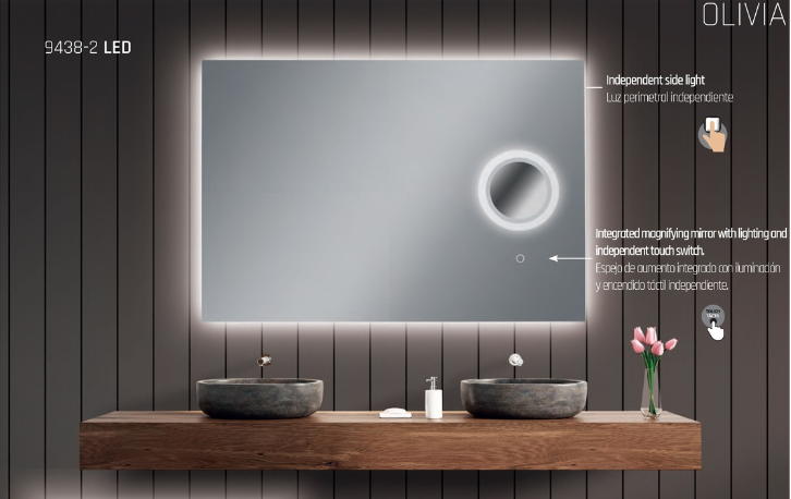 Acb olivia 9438 applique specchio con illuminazione led integrata